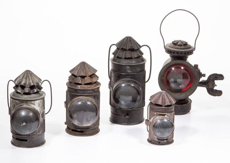 ASSORTED SHEET IRON BULL'S EYE LANTERNS, LOT OF FIVE