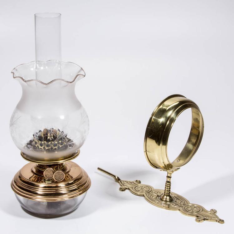 GLASS AND BRASS KEROSENE BRACKET LAMP