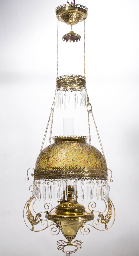 BRADLEY AND HUBBARD PELATON KEROSENE HANGING / LIBRARY LAMP