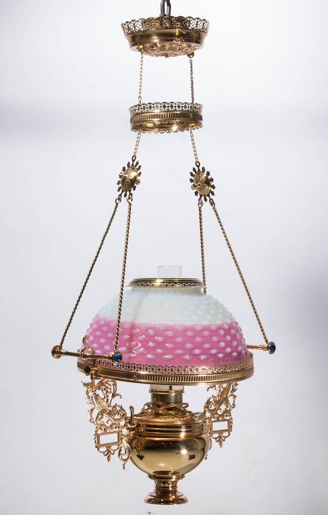 E. MILLER & CO. HOBNAIL OPALESCENT KEROSENE HANGING / LIBRARY LAMP