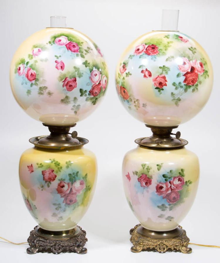 VICTORIAN PAINT DECORATED PAIR OF KEROSENE PARLOR LAMPS
