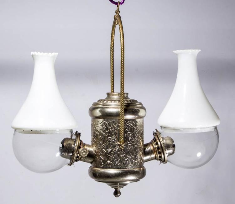 HANGING DOUBLE-BURNER KEROSENE ANGLE LAMP