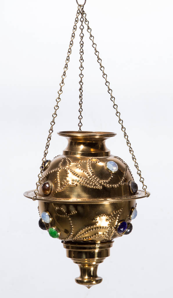 VICTORIAN BRASS JEWELLED HALL LAMP