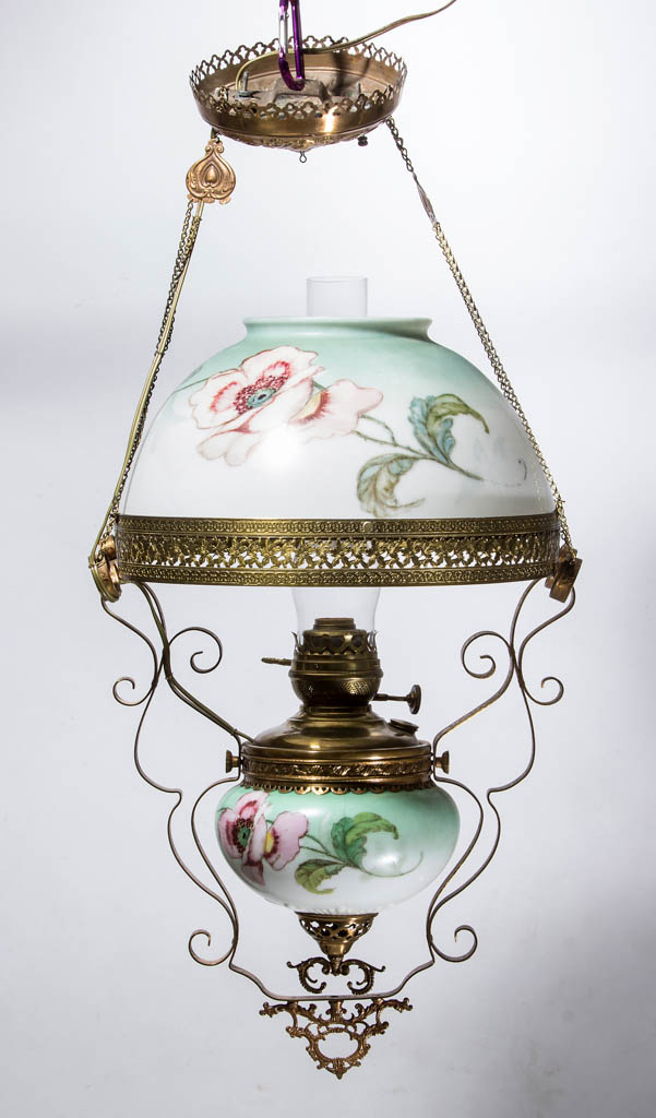 VICTORIAN BRASS KEROSENE HANGING / LIBRARY LAMP