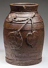 IMPORTANT JOHN A. HICKERSON, STRASBURG, SHENANDOAH VALLEY OF VIRGINIA STONEWARE COMMEMORATIVE PRESENTATION TOBACCO JAR