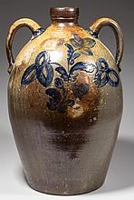 MONUMENTAL COFFMAN FAMILY, ROCKINGHAM CO., SHENANDOAH VALLEY OF VIRGINIA DECORATED STONEWARE DOUBLE-HANDLED JUG - PRESENTATION TO THE POTTERY OWNER