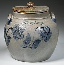 COFFMAN FAMILY, ROCKINGHAM CO., SHENANDOAH VALLEY OF VIRGINIA DECORATED STONEWARE SQUAT POT / PRESERVE JAR AND COVER