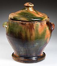 STRASBURG, SHENANDOAH VALLEY OF VIRGINIA POLYCHROME-DECORATED EARTHENWARE / REDWARE DIMINUTIVE SUGAR BOWL AND COVER