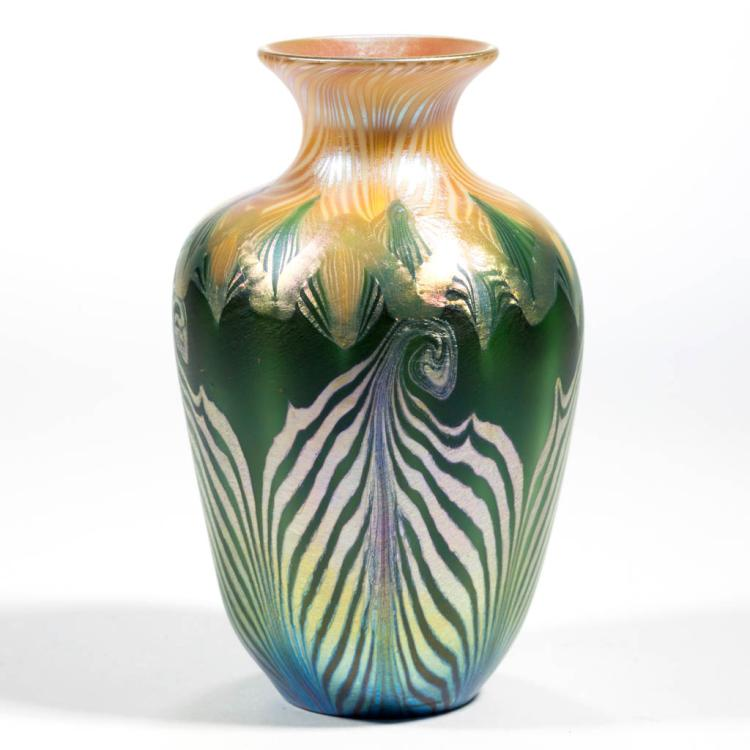 Quezal pulled feather art glass vase