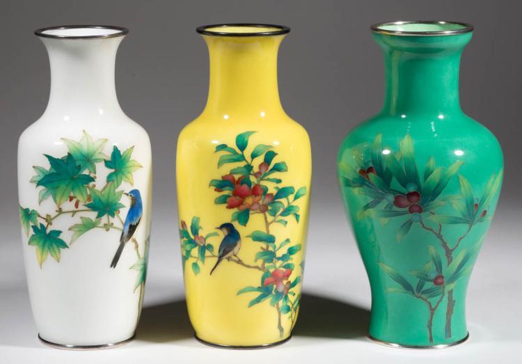 Ando Jubei Japanese Cloisonne Vases Lot Of Three