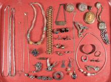 ASSORTED STERLING SILVER AND OTHER COSTUME JEWELRY, LOT OF 43 PIECES