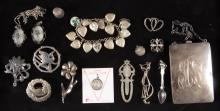 ASSORTED VINTAGE STERLING SILVER COSTUME JEWELRY, LOT OF 16 PIECES