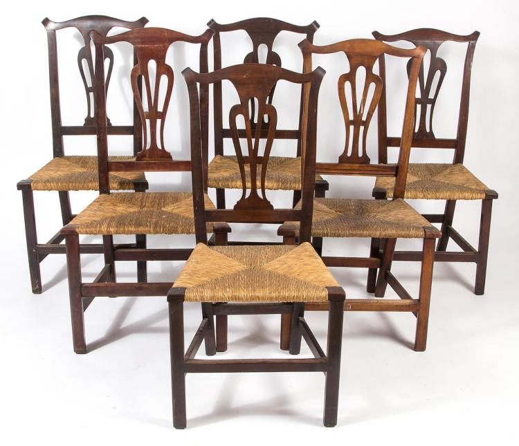 Set Of Five New England Country Chippendale Maple Cherry R