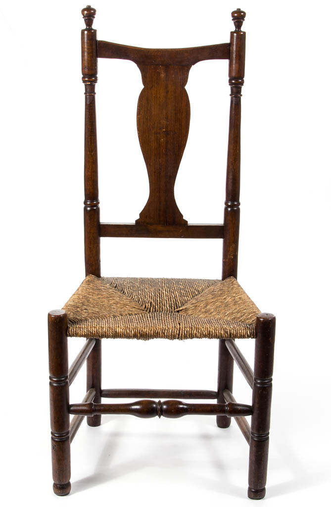New England Country Queen Anne Figured Maple Rush Seat Side