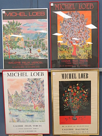 MICHEAL LOEB (FRENCH 1930-), LOT (4) EXHIBITION POSTERS, GALERIE FELIX VERCELAND AND GALERIE DAUPHINI. LARGEST/FRAMED AND GLAZED-28 X 19 1/2