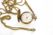 ANTIQUE WALTHAM GOLD FILLED 15-JEWEL LADY'S POCKET WATCH, MONOGRAMMED WITH GOLD FILLED SLIDE CHAIN. DIAMETER 1 3/8