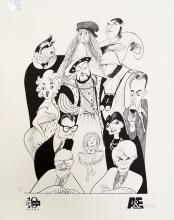 AL HIRSCHFELD (AMERICAN 1903-2006), LITHOGRAPH, A & E BIOGRAPHY-COMMEMORATING 10 YEARS, SIGNED 234/400. SHEET 20 X 16 1/4