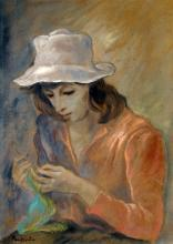 """PEPPINO MANGRAVITE (AMERICAN 1896-1978), PASTEL, GIRL WITH A HAT, SIGNED. SIGHT 18 X 12""""; FRAMED AND GLAZED-27 1/2 X 21"""""""