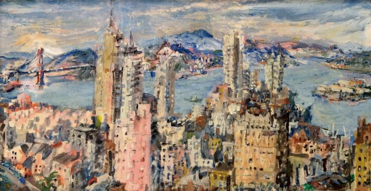 EDNA MARIE SCHMIDT (AMERICAN 1912-1999), OIL ON CANVAS BOARD, SAN FRANCISCO, SIGNED. SIGHT 15 3/4 X 29 1/2