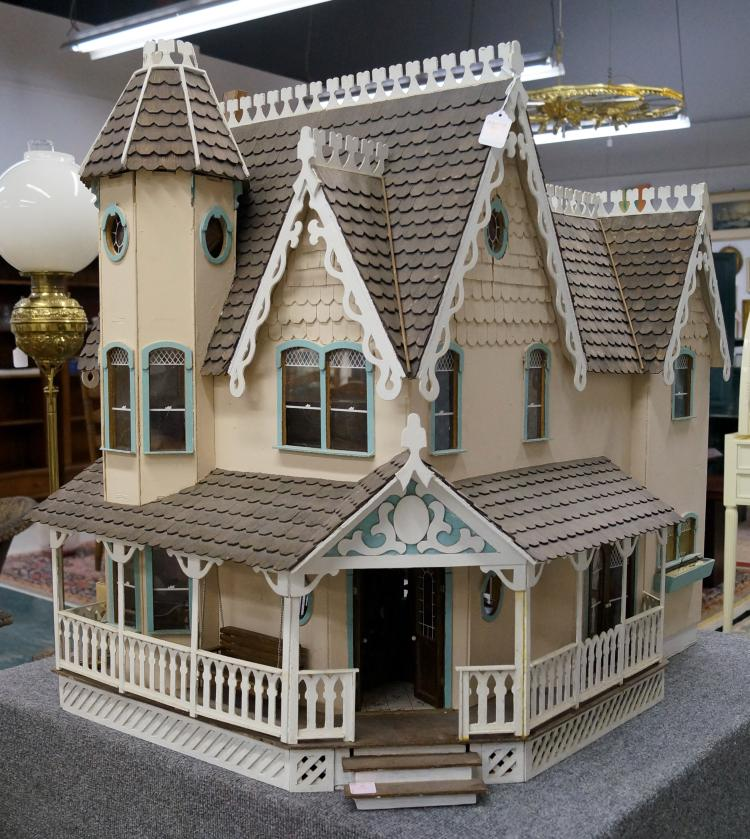 Queen Anne Revival Style Doll House With Furnishings Height