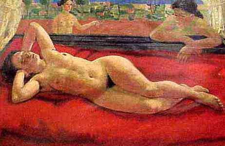 OIL ON CANVAS, RECLINING NUDE ON RED, SIGNED LEON DEVOS BELGIAN 1897-1974), 1946