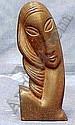 CARVED MAHOGANY HEAD OF A WOMAN, SIGNED M, Oronzio Maldarelli, Click for value