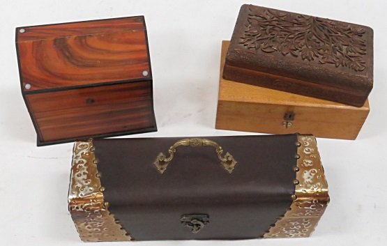 LOT (4) ROSEWOOD AND CARVED BOXES INCLUDING VINTAGE PHOTOGRAPHIC NEGATIVES IN GLASSINE COVERS