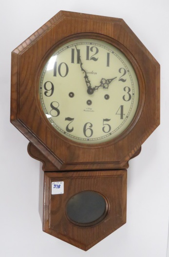 LINDEN OAK REGULATOR WALL CLOCK WITH WESTMINSTER CHIMES. HEIGHT 20 1/2