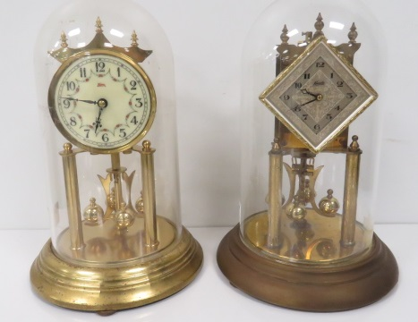 LOT (2) KUNDO BRASS ANNIVERSARY CLOCKS, C.1960. HEIGHT 12
