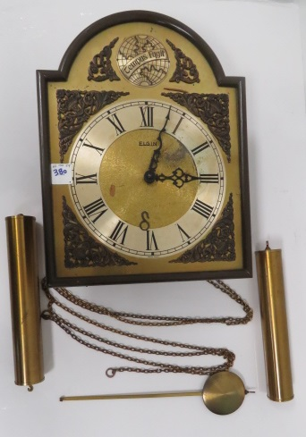 ELGIN BRASS WAG ON THE WALL CLOCK