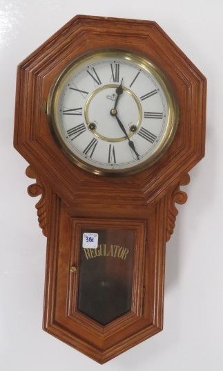 OAK REGULATOR WALL CLOCK. HEIGHT 23