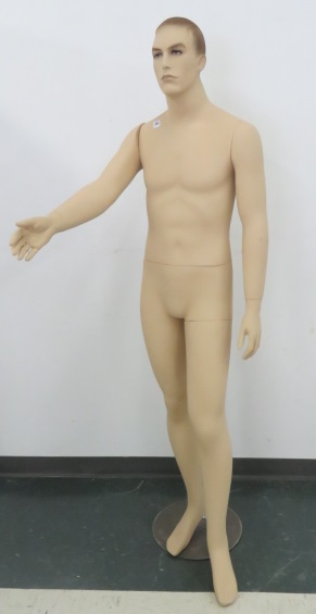MALE MANNEQUIN WITH ADJUSTABLE ARMS. HEIGHT 6';