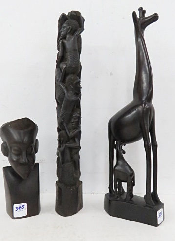 LOT (3) AFRICAN CARVED WOOD INCLUDING BUST OF A MAN, GIRAFFE AND CHILDREN CLIMBING. HEIGHT 8-18