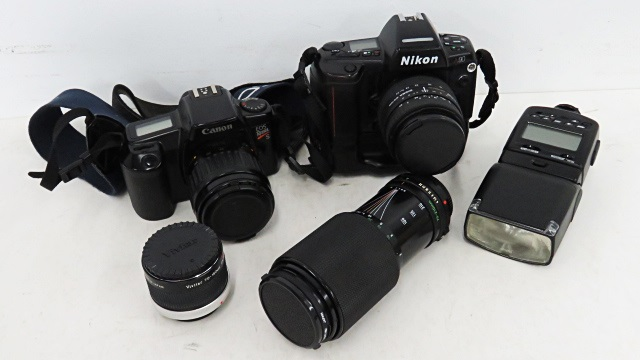 LOT (2) CAMERAS INCLUDING NIKON N90 AND CANNON EOS REBEL S WITH ASSORTED AUTOMATIC LENSES
