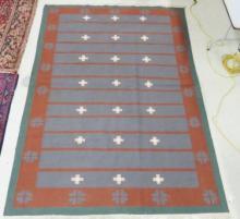 INDO PERSIAN MODERN FLATWEAVE RUG. 6' X 8'10