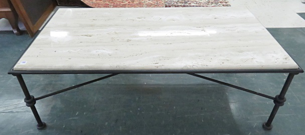 GIACOMETTI STYLE WROUGHT IRON BASE LOW TABLE WITH MARBLE TOP. HEIGHT 17
