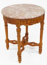FRENCH STYLE CARVED MAHOGANY CENTER STAND WITH MARBLE TOP. HEIGHT 33