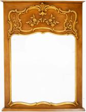 FRENCH STYLE CARVED AND GILT TRUMEAU MIRROR. HEIGHT 48