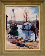 JAMES J. SALAMONE (AMERICAN 20TH CENTURY), OIL ON CANVAS, FISHING BOATS, SIGNED. 24 X 20