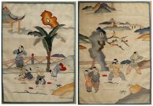 LOT (2) CHINESE KESI WOVEN PANELS. 12 3/4 X 9 3/8