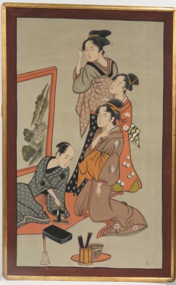 JAPANESE SCHOOL (20TH CENTURY), WATERCOLOR ON SILK, GEISHA WATCHING AN ARTIST, SIGNED. FRAMED 60 X 38