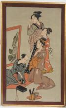 JAPANESE SCHOOL (20TH CENTURY), WATERCOLOR ON SILK, GEISHA WATCHING AN ARTIST, SIGNED. FRAMED 60 X 38