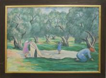 GREEK SCHOOL (20TH CENTURY), OIL ON CANVAS, HARVESTING OLIVES, SIGNED. 28 X 39