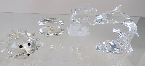 LOT (4) SWAROVSKI CRYSTAL ANIMALS INCLUDING HEDGEHOG, DOLPHIN, ETC (WITH ORIGINAL BOXES)