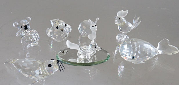 LOT (7) SWAROVSKI CRYSTAL ANIMALS INCLUDING WHALE, SQUIRREL, ETC (WITH ORIGINAL BOXES)