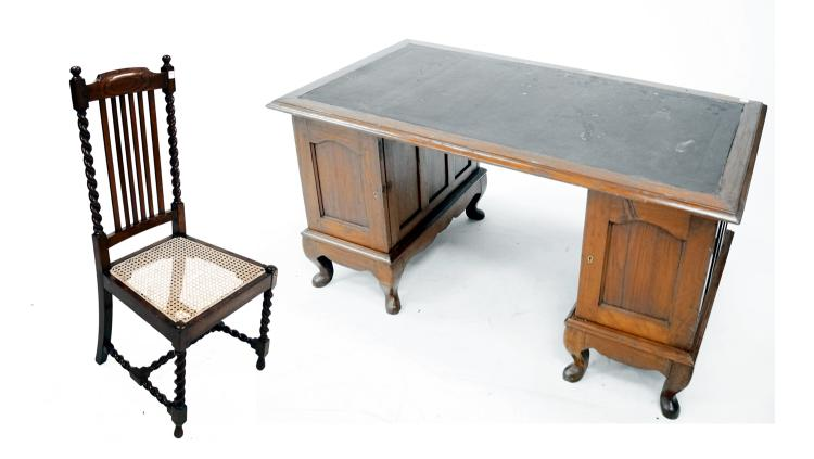 LOT (2) INCLUDING ANGLO INDIAN CARVED WALNUT AND TEAK CAMPAIGN DESK, 19TH CENTURY, HEIGHT 30
