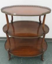 REGENCY STYLE MAHOGANY 3-TIER STAND WITH BRASS GALLERY. HEIGHT 36