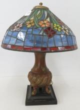 TIFFANY STYLE LEADED GLASS TABLE LAMPS. HEIGHT 22