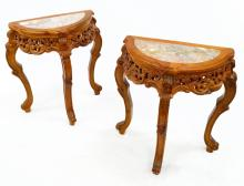 PAIR CARVED HARDWOOD CONSOLE STANDS WITH MARBLE INSET TOPS. HEIGHT 29