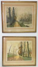 FRENCH SCHOOL (20TH CENTURY), LOT (2) LITHOGRAPHS, FRENCH COUNTRY LANDSCAPES, SIGNED ILLEGIBLY. 18 1/2 X 23 1/2